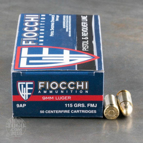 50rds - 9mm Fiocchi 115gr. FMJ Ammo