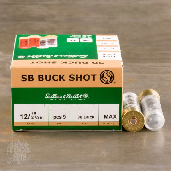 "250rds - 12 Gauge Sellier and Bellot 2 3/4"" 9 Pellet 00 Buckshot Ammo"