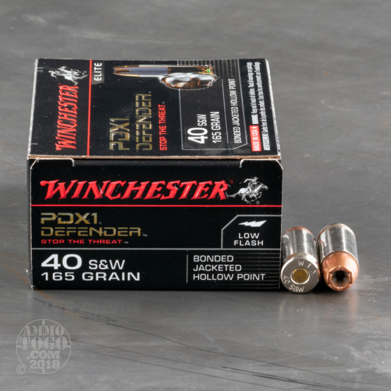 20rds – 40 S&W Winchester Defender 165gr. PDX1 Bonded JHP Ammo