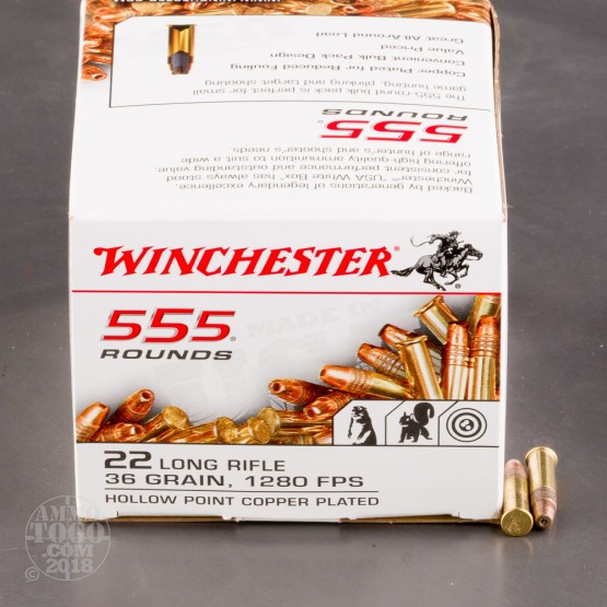 555rds - 22LR Winchester 36gr. Copper Plated Hollow Point Bulk Pack Ammo