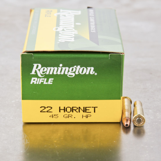 50rds - 22 Hornet Remington Rifle Express 45gr. Hollow Point Ammo