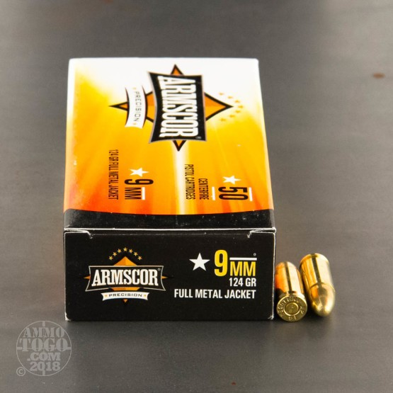 50rds - 9mm Armscor 124gr. FMJ Ammo