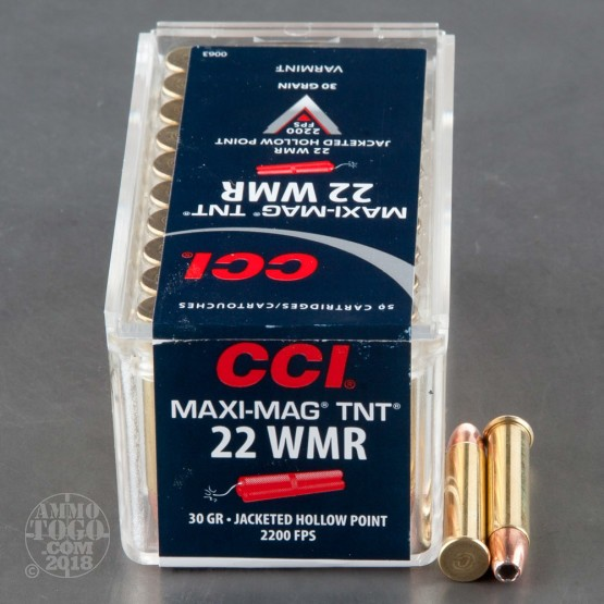 50rds - 22 Mag CCI Maxi-Mag 30gr. TNT Hollow Point Ammo