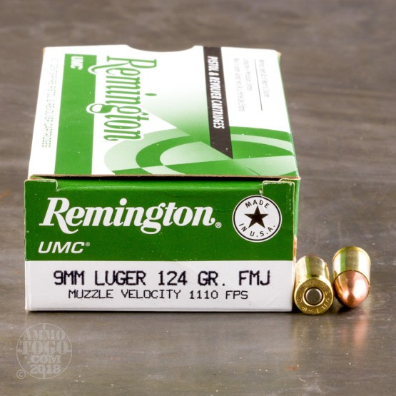 500rds - 9mm Remington  UMC 124gr. FMJ Ammo