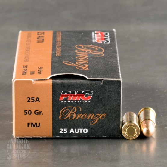 50rds - 25 Auto PMC Bronze 50gr. FMJ Ammo