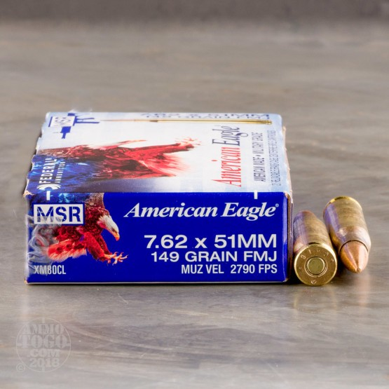 20rds - 7.62 x 51 NATO Federal Lake City XM80CL 149gr. FMJ Ammo