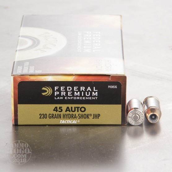 50rds - 45 ACP Federal LE Tactical Hydra-Shok 230gr. HP Ammo