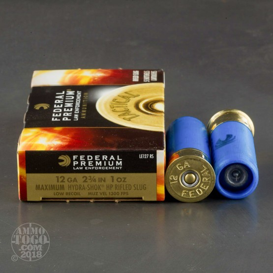 "5rds – 12 Gauge Federal Law Enforcement Low Recoil 2-3/4"" 1 oz. Rifled Hydra-Shok HP Slug Ammo"