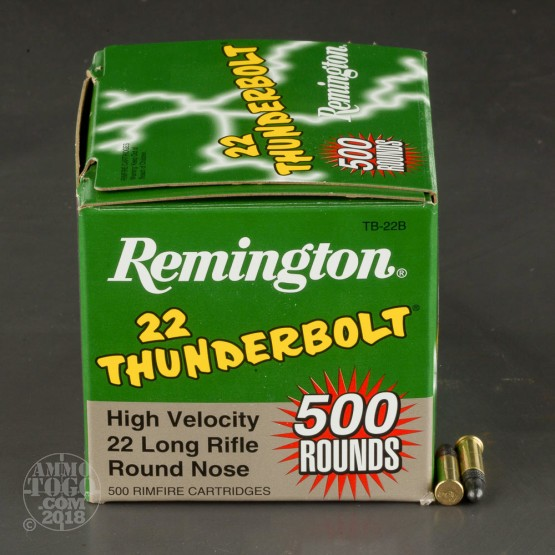 500rds - 22LR Remington Thunderbolt 40gr. Round Nose Ammo