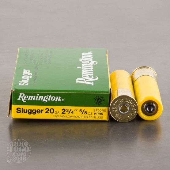 "250rds - 20 Gauge Remington Slugger 2 3/4"" 5/8 Ounce Hollow-Point Rifled Slug Ammo"