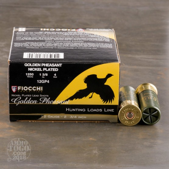 "25rds - 12 Gauge Fiocchi Golden Pheasant 2 3/4"" 1 3/8oz. #4 Shot Nickel Plated Ammo"