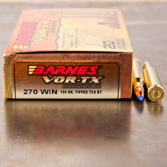 20rds - 270 Win. Barnes VOR-TX Polymer Tip 130gr. Tipped TSX Boattail Ammo