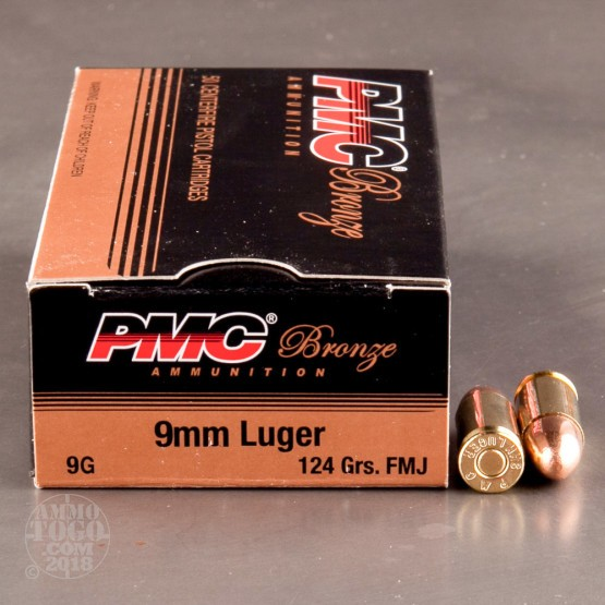 50rds - 9mm PMC Bronze 124gr. FMJ Ammo