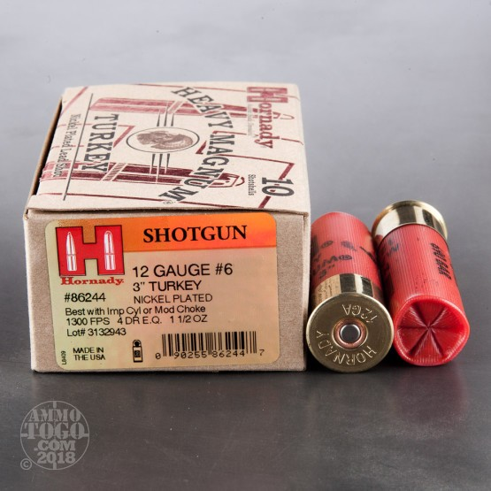 "10rds - 12 Gauge Hornady Heavy Magnum 3"" 1 1/2oz. #6 Turkey Load Ammo"