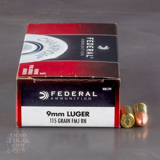 50rds - 9mm Federal Champion 115gr. FMJ Ammo