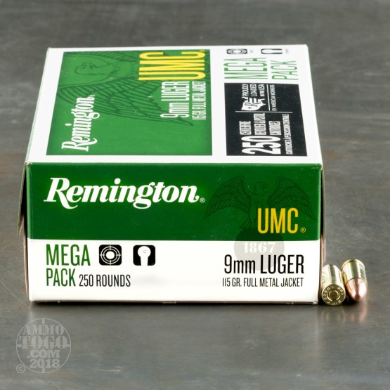 1000rds – 9mm Luger Remington UMC 115gr. MC Ammo