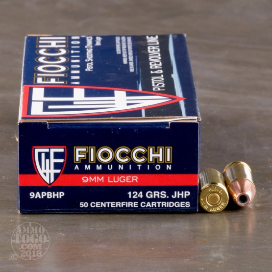 50rds - 9mm Fiocchi 124gr. Jacketed Hollow Point Ammo
