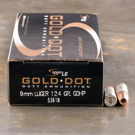50rds - 9mm Speer LE Gold Dot 124gr. HP Ammo