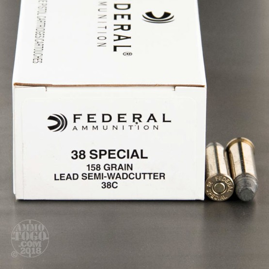 50rds - 38 Spec. Federal 158gr Lead Semi-Wadcutter Ammo