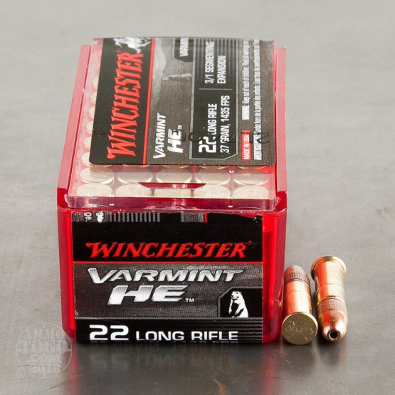 50rds - 22LR Winchester Varmint HE 37gr. 3/1 Segmenting Expansion HP Ammo