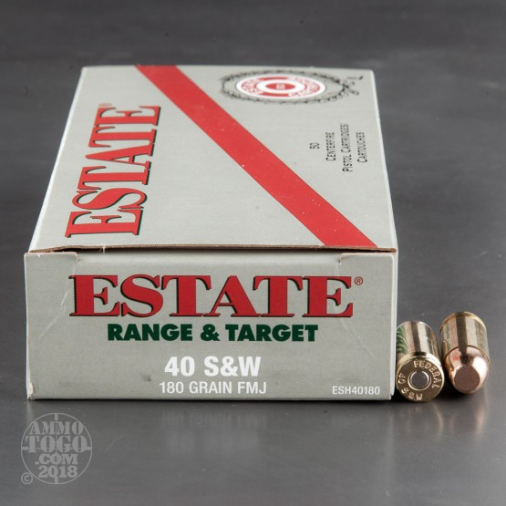 50rds - 40 S&W Estate 180gr. FMJ Ammo