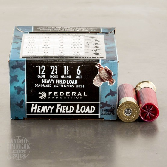 "25rds - 12 Gauge Federal Game-Shok 2-3/4"" 1-1/4 Ounce #6 Shot Ammo"
