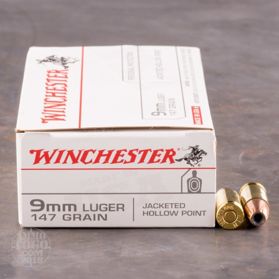 50rds - 9mm Winchester USA 147gr. Hollow Point Ammo