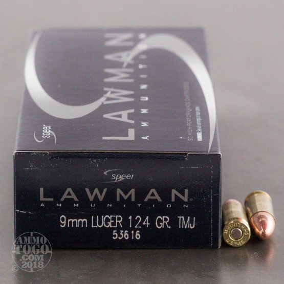 50rds - 9mm Speer Lawman 124gr. FMJ Ammo