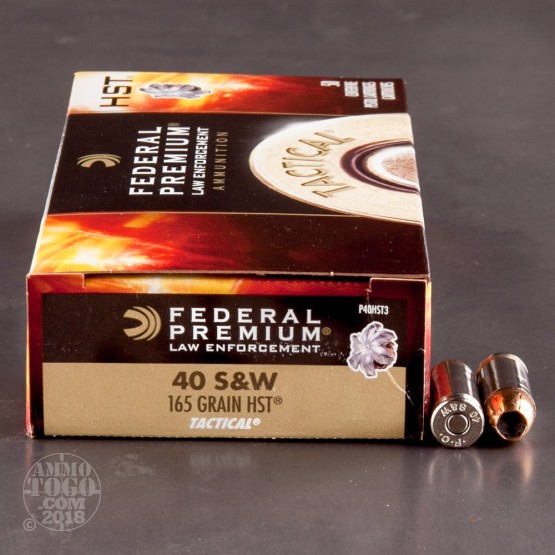 50rds - 40 S&W Federal LE Tactical HST 165gr. HP Ammo