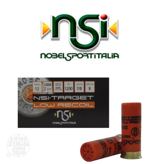 250rds - 12 Gauge NSI Low Recoil 2 3/4 7/8oz. #8 Shot Ammo