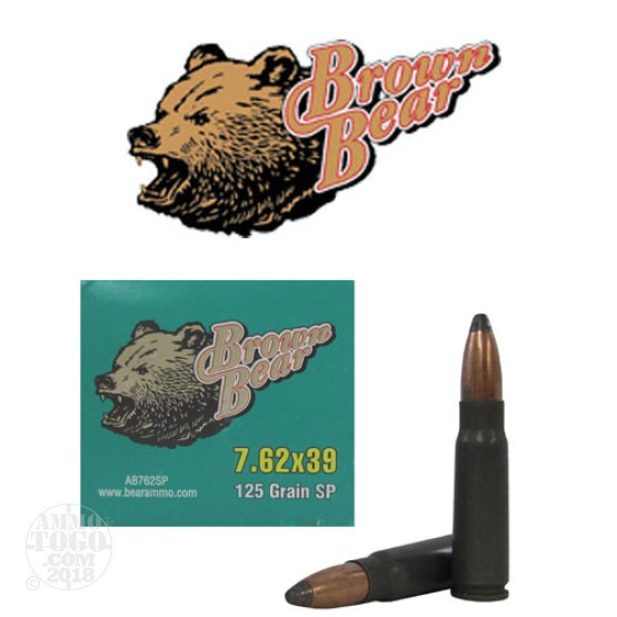 20rds - 7.62x39 Brown Bear 125gr. Polymer Soft Point Ammo