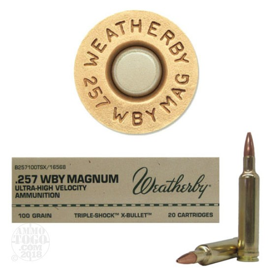 20rds - 257 Weatherby Mag. 100gr. Barnes TSX Hollow Point Ammo