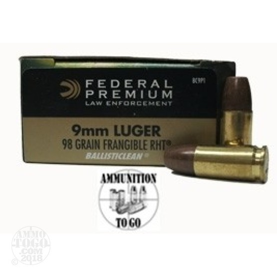 50rds - 9mm Federal LE Ballisticlean 98gr. RHT Frangible