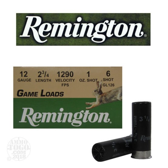 "250rds - 12 Gauge Remington Game Load 2 3/4""  1oz. #6 Shot"