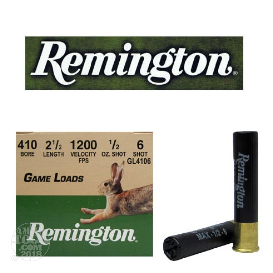 "200rds - .410 Gauge Remington Game Load 2 1/2"" 1/2oz. #6 Shot Ammo"
