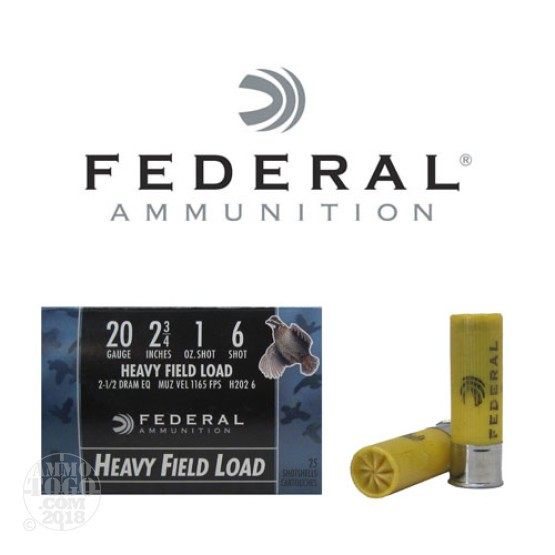 "25rds - 20 Gauge Federal Game Shok 2 3/4"" 1oz. #6 Shot Ammo"