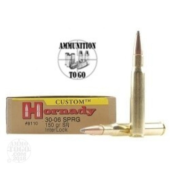 20rds - 30-06 Hornady 150gr Interlock Spire Point Ammo