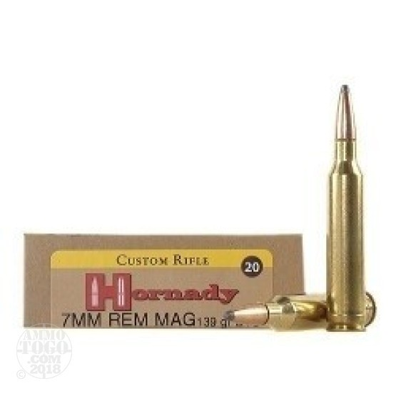 20rds - 7mm Rem Mag Hornady Custom 139gr. Boat-Tail Spire Point