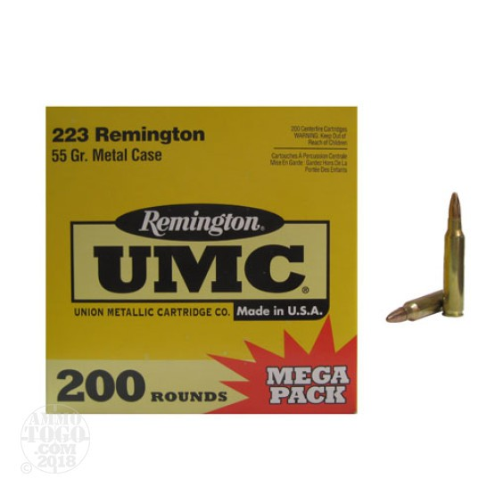 200rds - .223 Remington UMC Mega Pack 55gr. FMJ Ammo