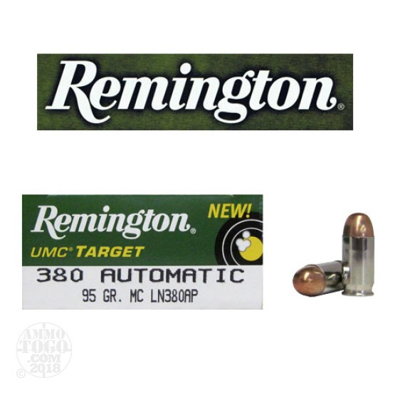 50rds - .380 Auto Remington UMC Target 95gr. Nickel Case FMJ Ammo