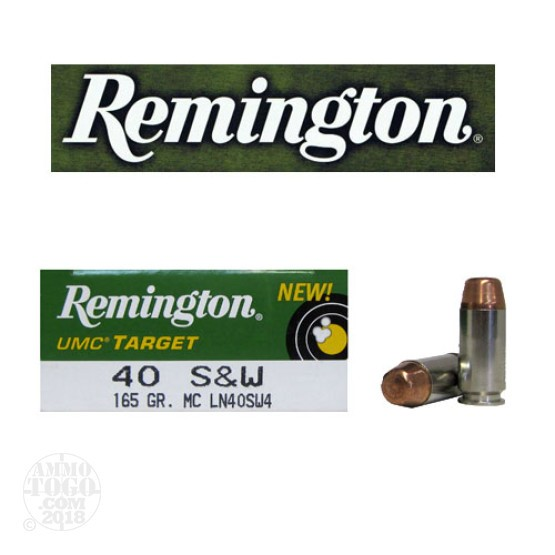 50rds - 40 S&W Remington UMC Target 165gr. Nickel Case FMJ Ammo
