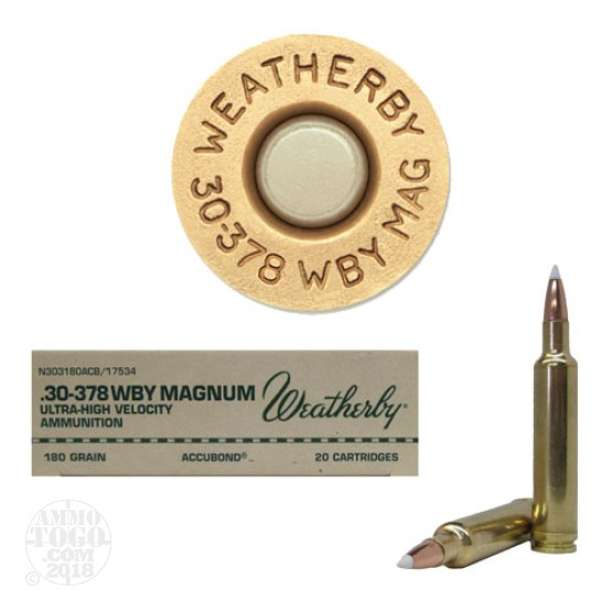 20rds - 30-378 Weatherby Mag. 180gr. Nosler AccuBond Ammo