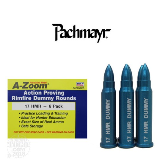 6rds - 17 HMR Pachmayr A-Zoom Action Proving Dummy Rounds