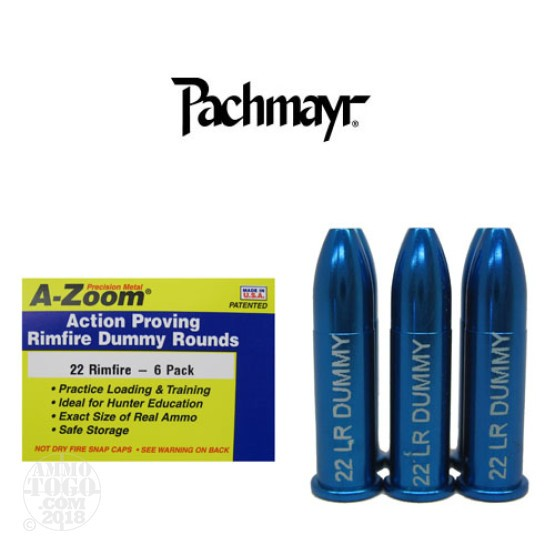 6rds - 22 LR Rimfire Pachmayr A-Zoom Action Proving Dummy Rounds