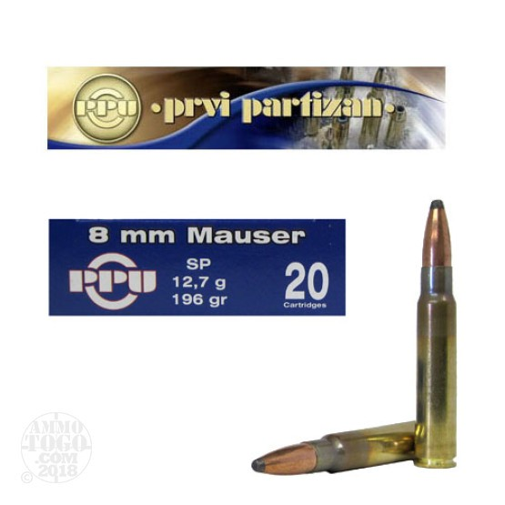 20rds - 8mm Mauser Prvi Partizan 196gr. Soft Point Ammo