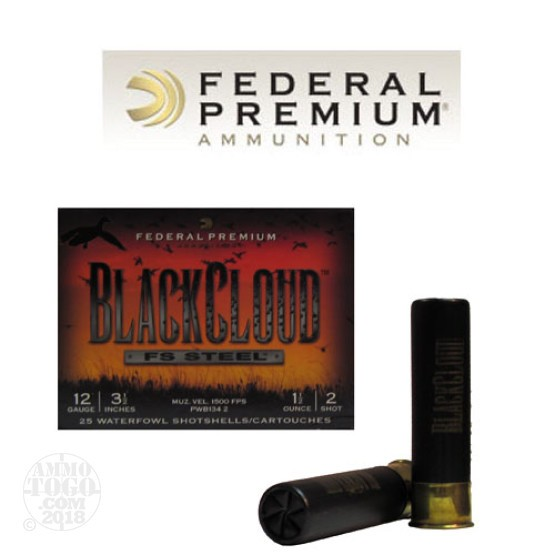 "25rds - 12 Ga. Federal Blackcloud 3 1/2"" 1 1/2oz #2 Steel Shot Ammo"