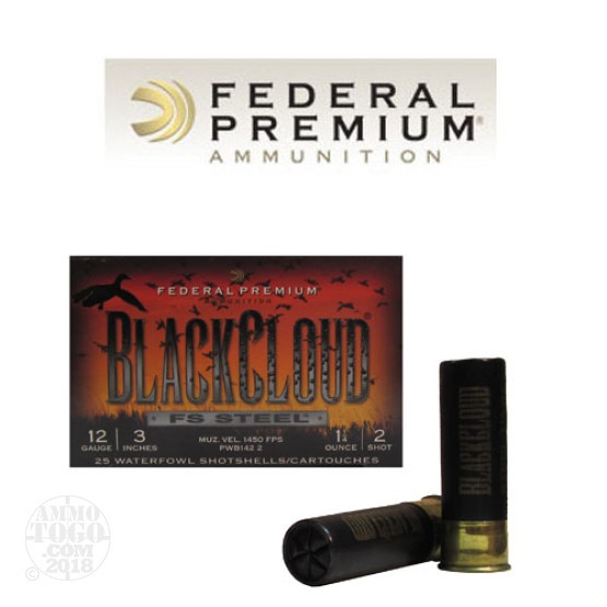 "250rds - 12 Ga. Federal Blackcloud 3"" 1 1/4oz #2 Steel Shot"