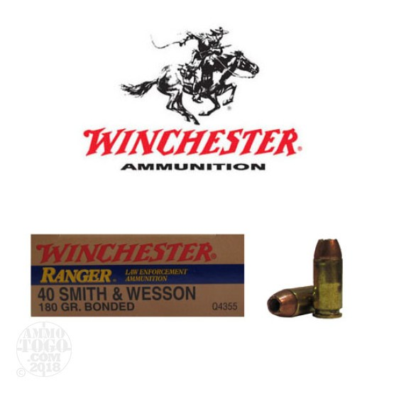 50rds - 40 S&W Winchester Ranger Q4355 180gr. Bonded HP Ammo
