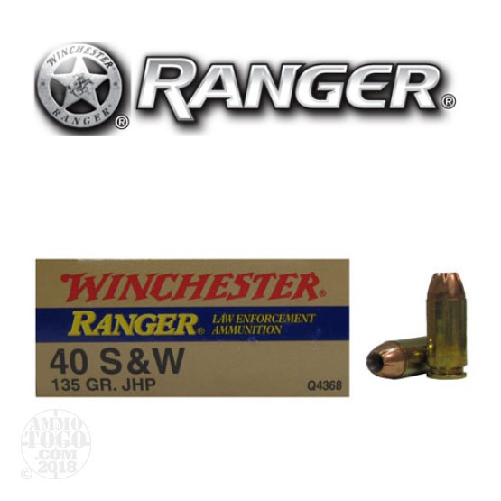 500rds - 40 S&W Winchester Ranger 135gr. HP Ammo