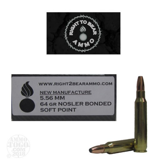 20rds - 5.56 Right To Bear 64gr. Nosler Bonded Soft Point Ammo